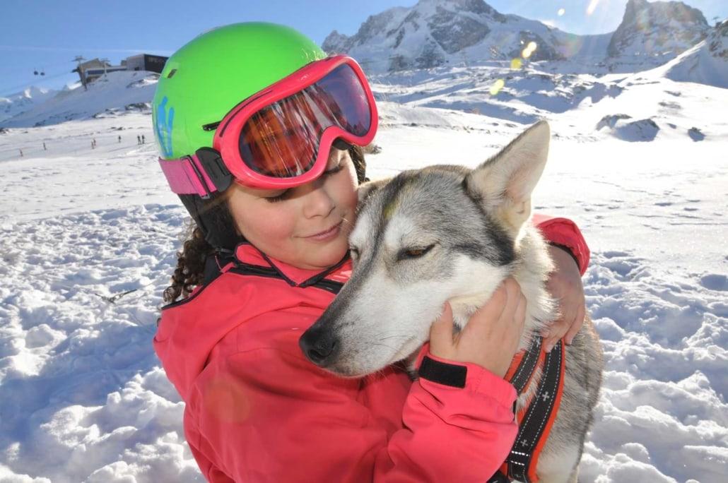 Husky Schlittenfahrt mit Kindern